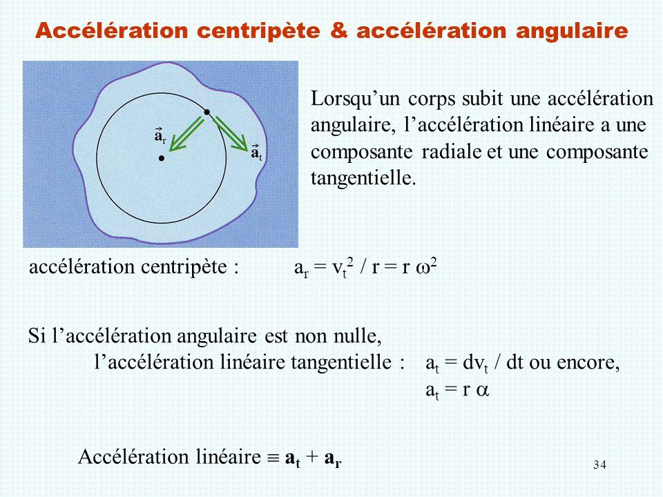 34 Accélération centripète & accélération angulaire accélération centripète :a r = v t 2 / r = r  2 Si l'accélération angulaire est non nulle, l'accé