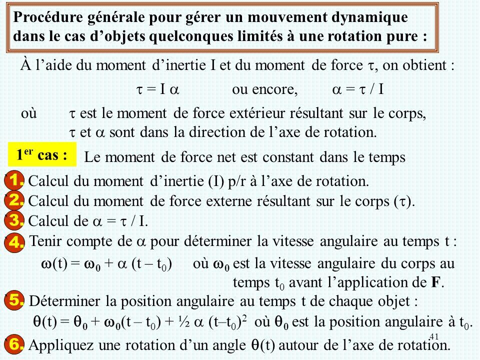 41 Procédure générale pour gérer un mouvement dynamique dans le cas d'objets quelconques limités à une rotation pure : À l'aide du moment d'inertie I