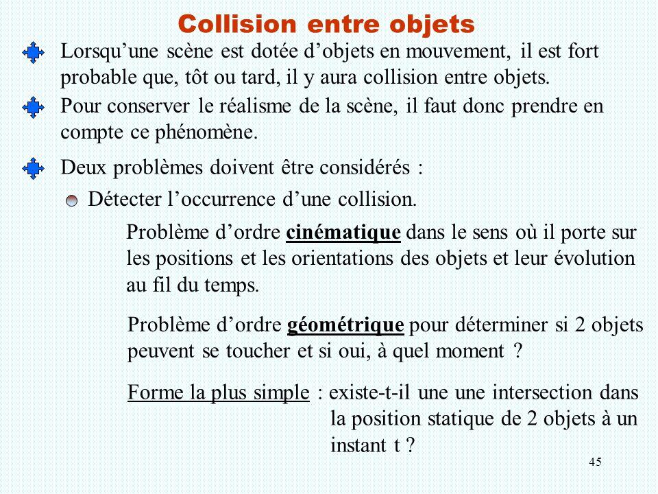 45 Collision entre objets Lorsqu'une scène est dotée d'objets en mouvement, il est fort probable que, tôt ou tard, il y aura collision entre objets. P