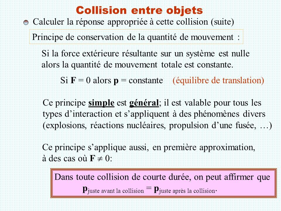 Collision entre objets Calculer la réponse appropriée à cette collision (suite) Principe de conservation de la quantité de mouvement : Si F = 0 alors