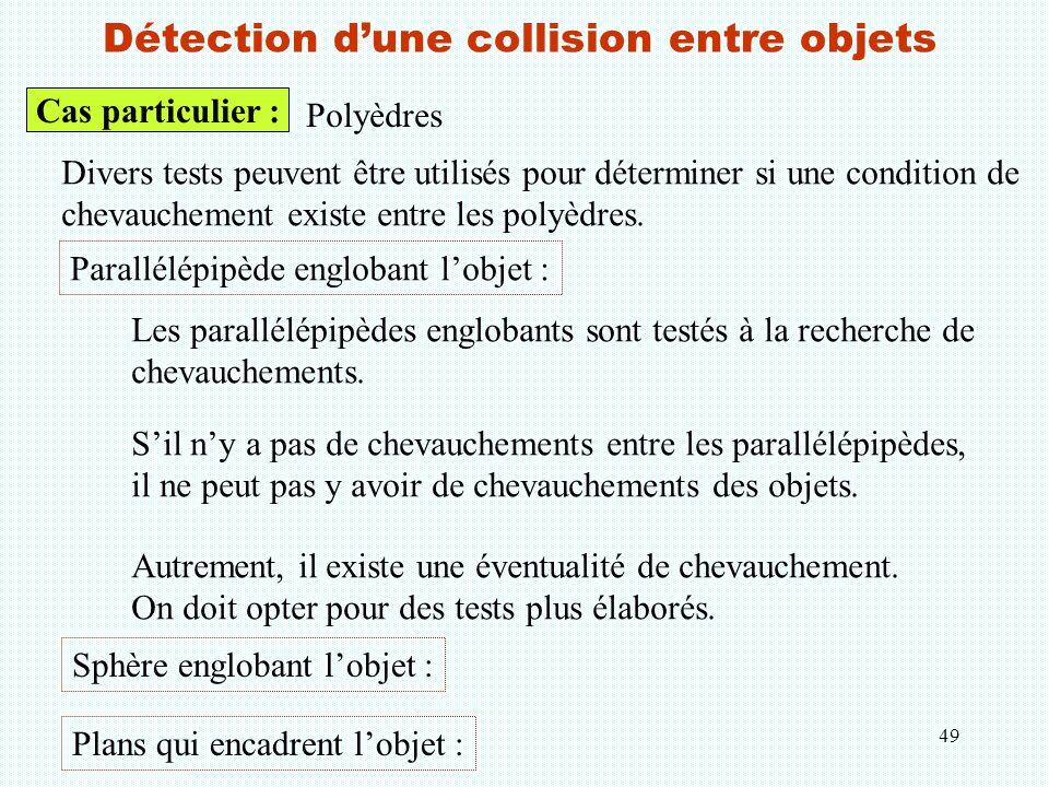 49 Détection d'une collision entre objets Cas particulier : Polyèdres Divers tests peuvent être utilisés pour déterminer si une condition de chevauche