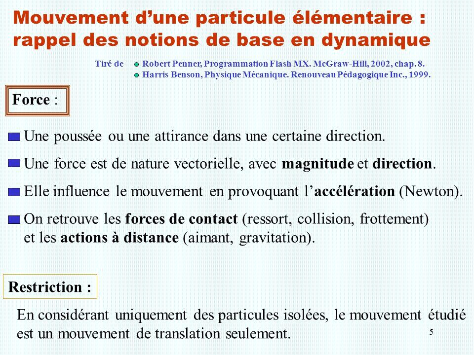 5 Mouvement d'une particule élémentaire : rappel des notions de base en dynamique Force : Une poussée ou une attirance dans une certaine direction. Un