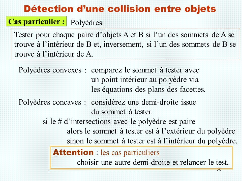 50 Détection d'une collision entre objets Cas particulier : Polyèdres Tester pour chaque paire d'objets A et B si l'un des sommets de A se trouve à l'