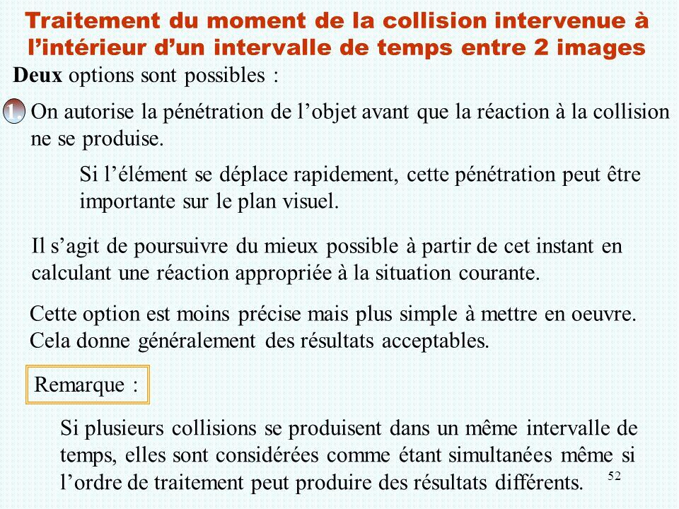 52 Traitement du moment de la collision intervenue à l'intérieur d'un intervalle de temps entre 2 images Deux options sont possibles : 1. On autorise