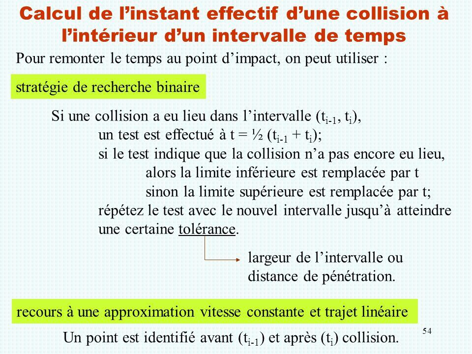 54 Calcul de l'instant effectif d'une collision à l'intérieur d'un intervalle de temps Pour remonter le temps au point d'impact, on peut utiliser : Si