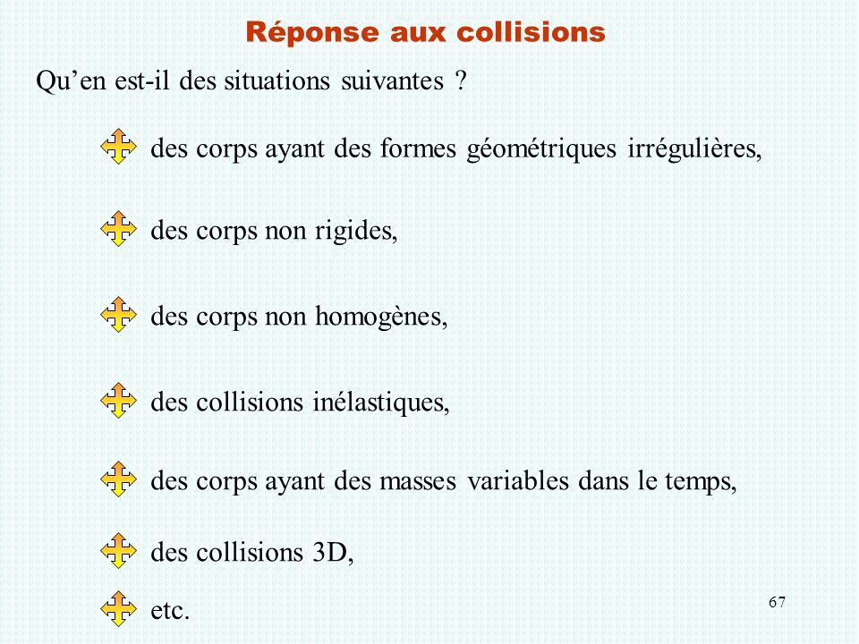 67 Réponse aux collisions Qu'en est-il des situations suivantes ? des corps ayant des formes géométriques irrégulières, des corps non rigides, des cor