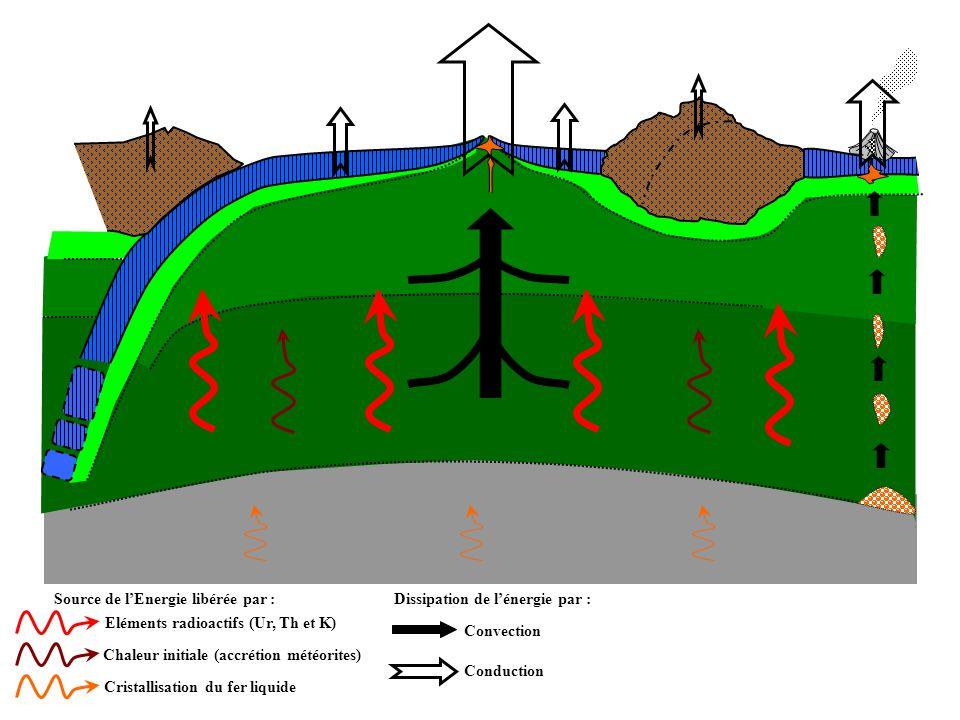 Source de l'Energie libérée par : Cristallisation du fer liquide Eléments radioactifs (Ur, Th et K) Chaleur initiale (accrétion météorites) Dissipation de l'énergie par : Convection Conduction Mouvements créés : Cellule de convection à l'origine des dorsales et des fosses de subduction.