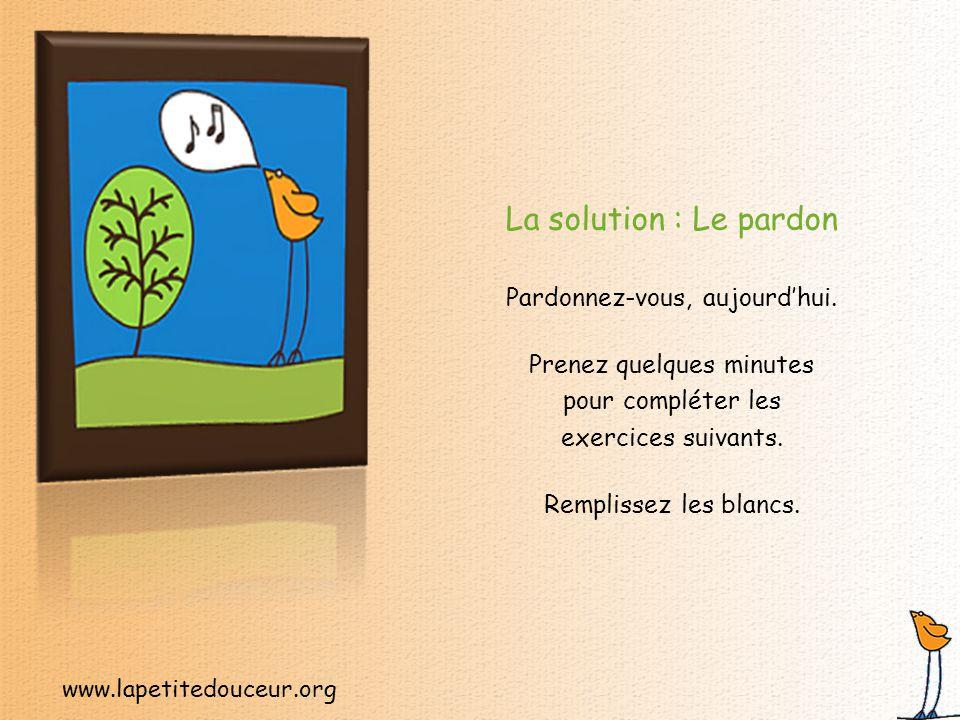 www.lapetitedouceur.org Nous transportons tous des fardeaux émotifs dont nous aimerions bien nous départir.