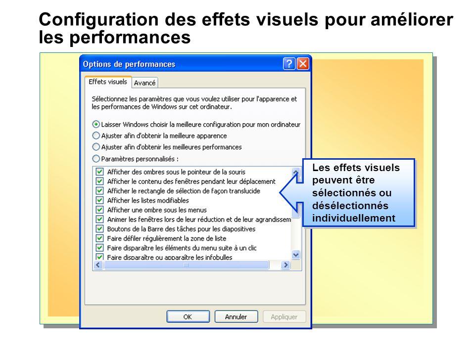 Configuration des effets visuels pour améliorer les performances Les effets visuels peuvent être sélectionnés ou désélectionnés individuellement