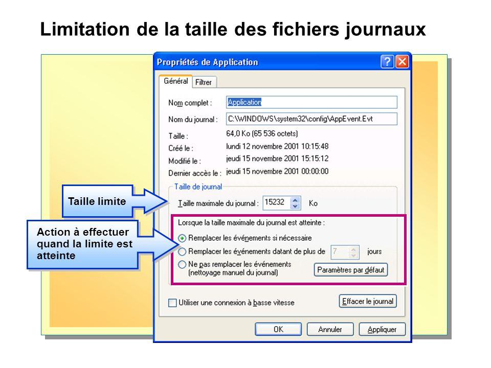 Limitation de la taille des fichiers journaux Taille limite Action à effectuer quand la limite est atteinte