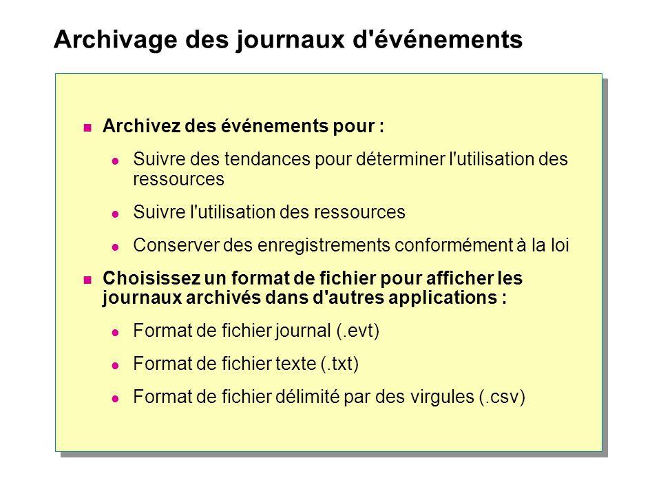 Archivage des journaux d'événements Archivez des événements pour : Suivre des tendances pour déterminer l'utilisation des ressources Suivre l'utilisat