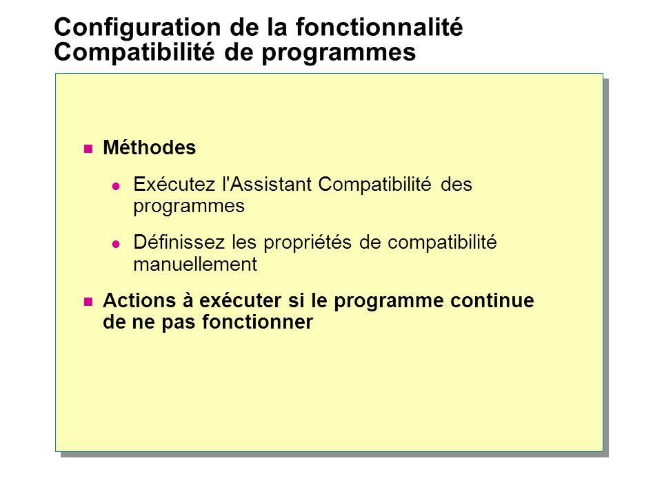 Configuration de la fonctionnalité Compatibilité de programmes Méthodes Exécutez l'Assistant Compatibilité des programmes Définissez les propriétés de