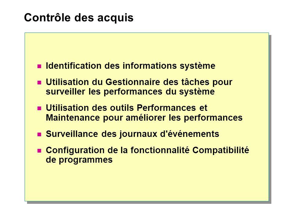 Contrôle des acquis Identification des informations système Utilisation du Gestionnaire des tâches pour surveiller les performances du système Utilisa
