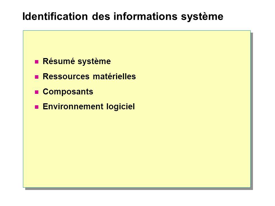 Identification des informations système Résumé système Ressources matérielles Composants Environnement logiciel