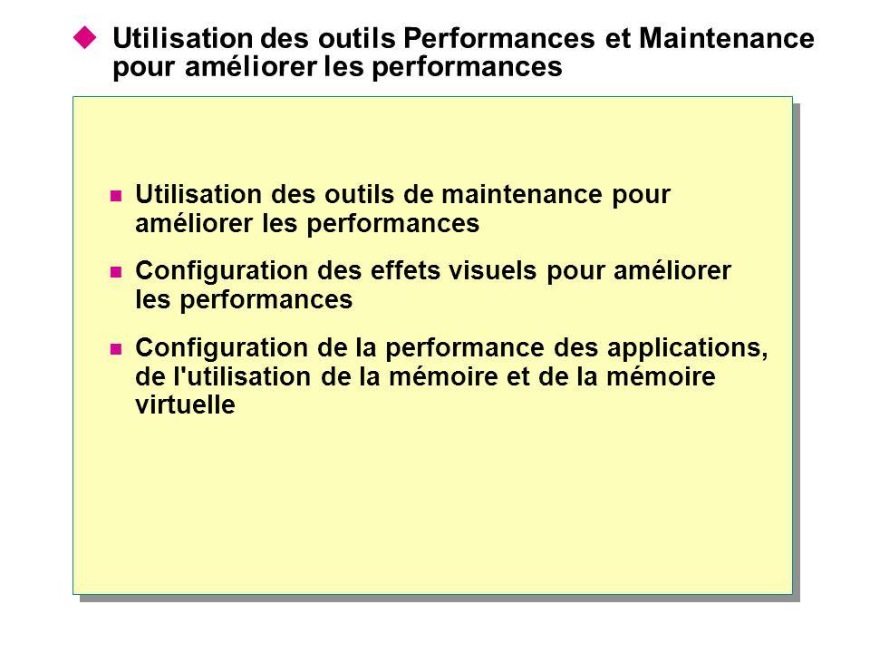  Utilisation des outils Performances et Maintenance pour améliorer les performances Utilisation des outils de maintenance pour améliorer les performa