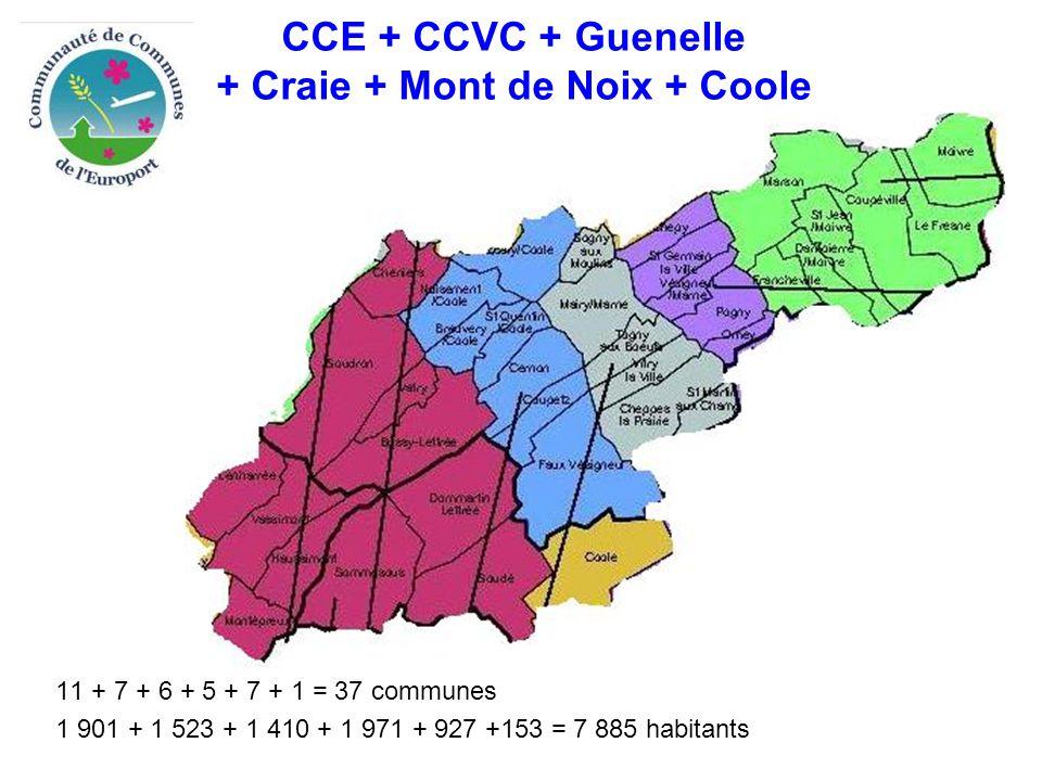 CCE + CCVC + Guenelle + Craie + Mont de Noix + Coole 11 + 7 + 6 + 5 + 7 + 1 = 37 communes 1 901 + 1 523 + 1 410 + 1 971 + 927 +153 = 7 885 habitants