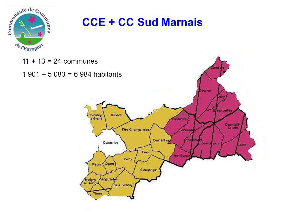 CCE + CC Sud Marnais 11 + 13 = 24 communes 1 901 + 5 083 = 6 984 habitants