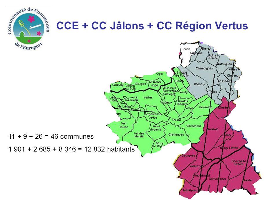 CCE + CC Jâlons + CC Région Vertus 11 + 9 + 26 = 46 communes 1 901 + 2 685 + 8 346 = 12 832 habitants