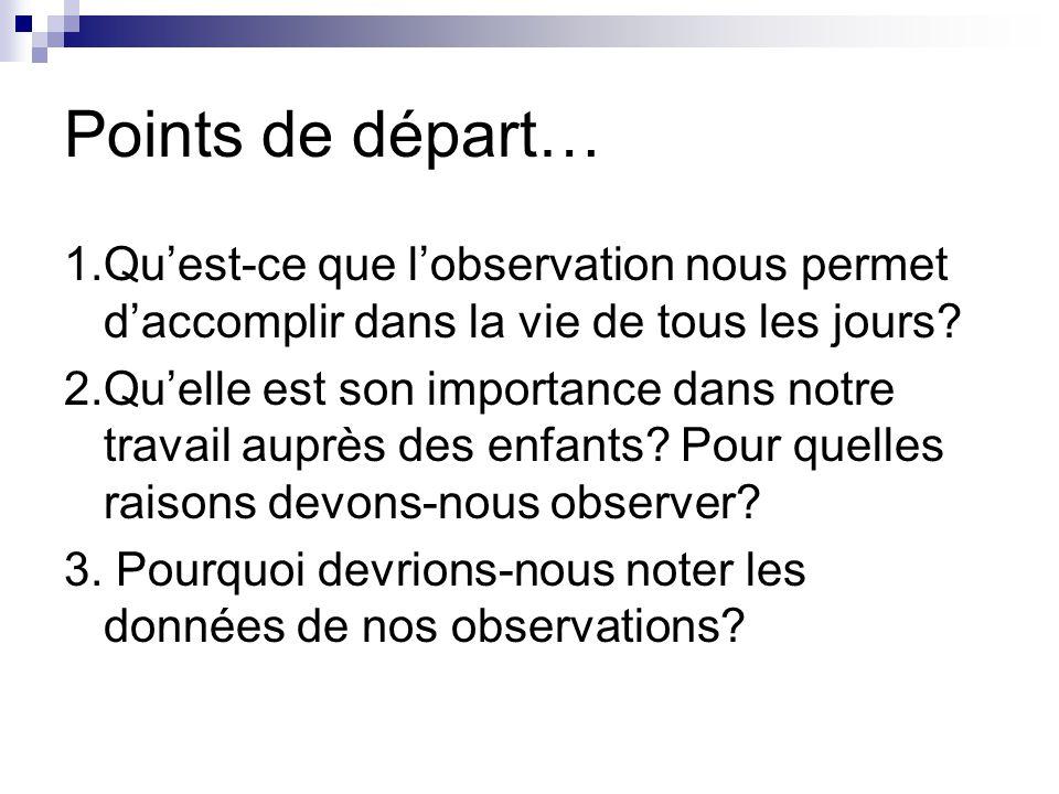Points de départ… 1.Qu'est-ce que l'observation nous permet d'accomplir dans la vie de tous les jours.