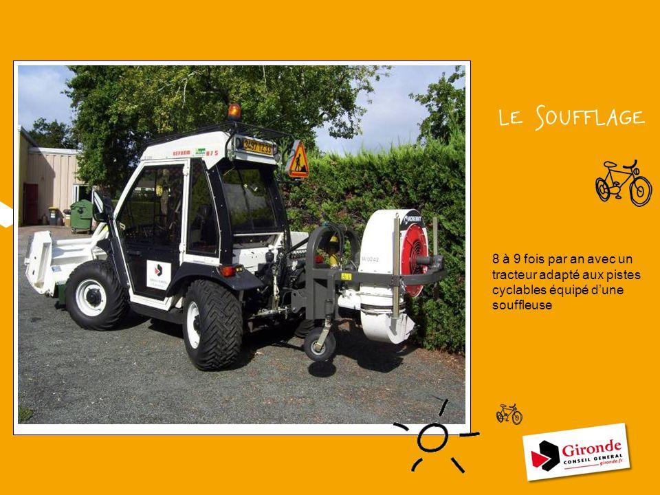 LE SOUFFLAGE 8 à 9 fois par an avec un tracteur adapté aux pistes cyclables équipé d'une souffleuse