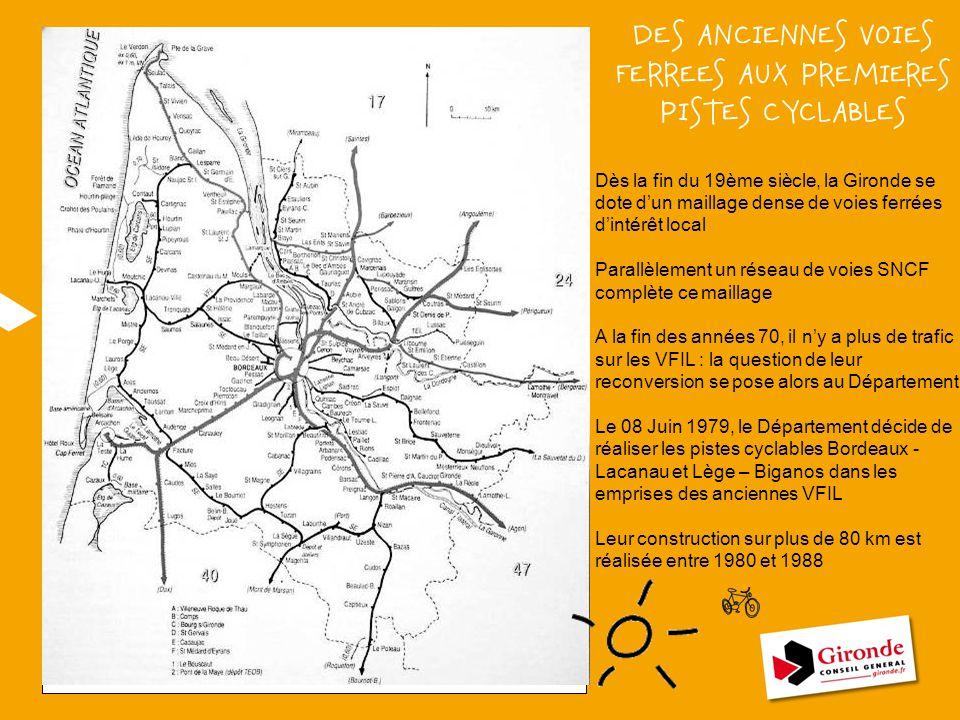 Dès la fin du 19ème siècle, la Gironde se dote d'un maillage dense de voies ferrées d'intérêt local Parallèlement un réseau de voies SNCF complète ce