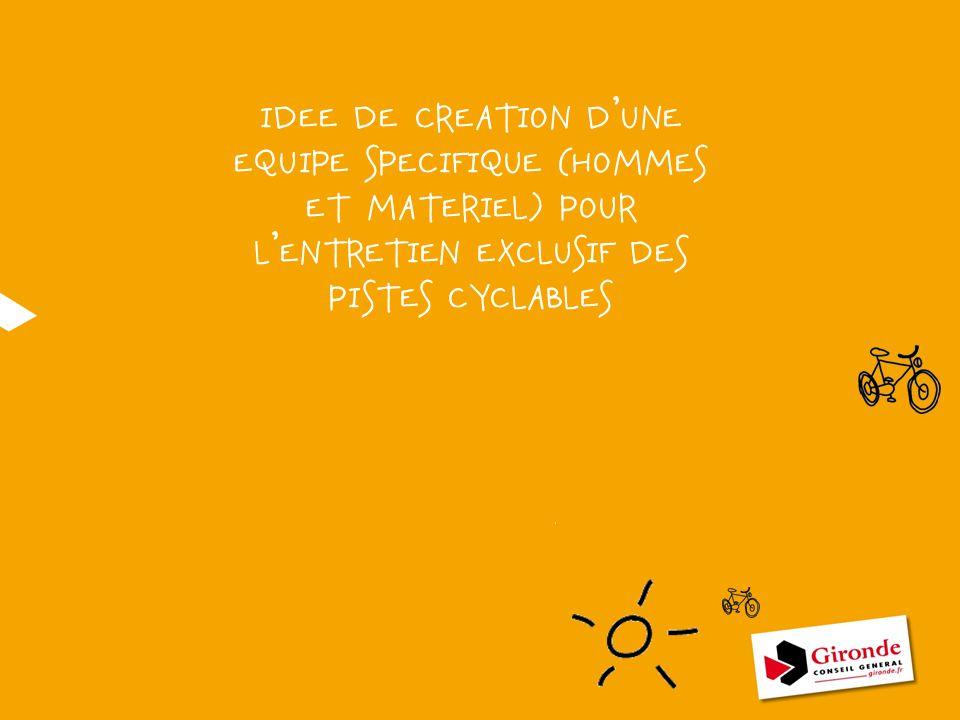 IDEE DE CREATION D'UNE EQUIPE SPECIFIQUE (HOMMES ET MATERIEL) POUR L'ENTRETIEN EXCLUSIF DES PISTES CYCLABLES