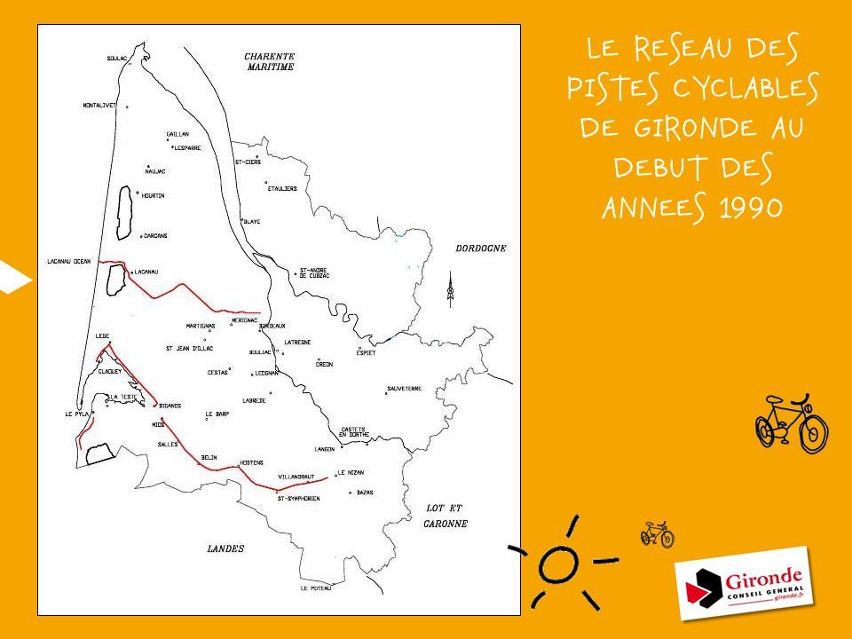 LE RESEAU DES PISTES CYCLABLES DE GIRONDE AU DEBUT DES ANNEES 1990