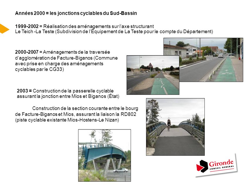 LE RESEAU CYCLABLE DU BASSIN D'ARCACHON FIN 2003 Fin 2003, un tronçon de 1,8 km entre la sortie d'agglomération de Biganos et le Relais Nature de « Lamothe » au Teich reste à aménager