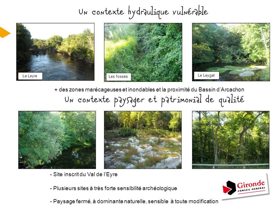 - Site inscrit du Val de l'Eyre - Plusieurs sites à très forte sensibilité archéologique - Paysage fermé, à dominante naturelle, sensible à toute modi