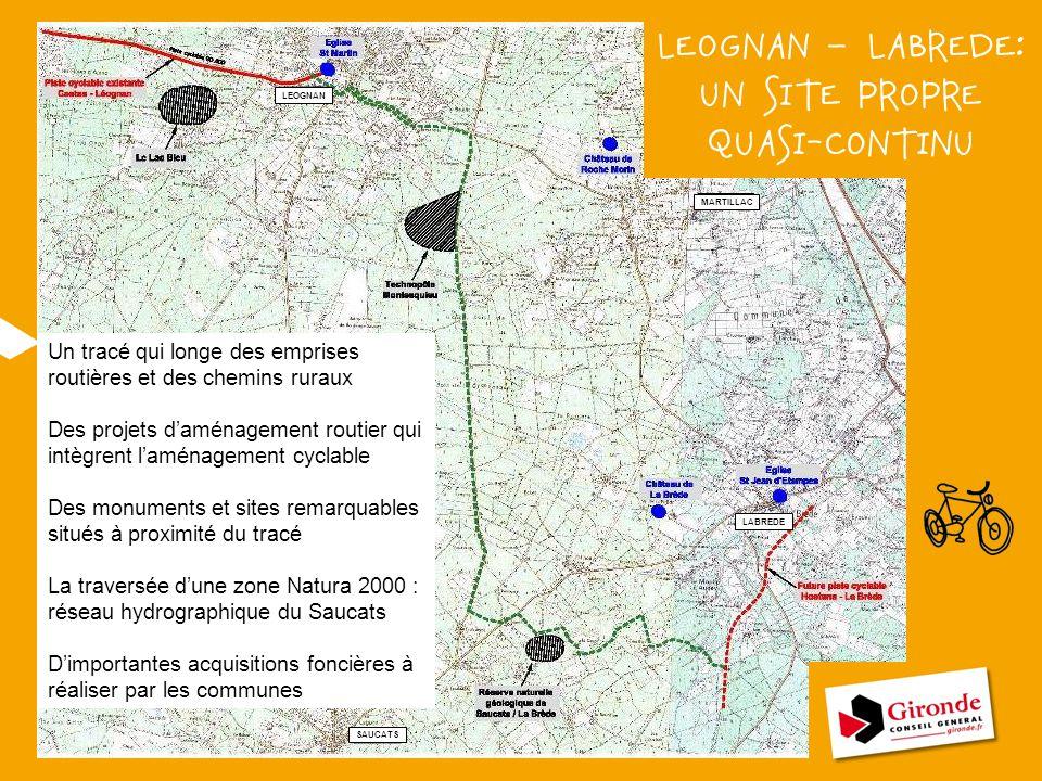 ? LEOGNAN MARTILLAC LABREDE SAUCATS LEOGNAN – LABREDE: UN SITE PROPRE QUASI-CONTINU Un tracé qui longe des emprises routières et des chemins ruraux De