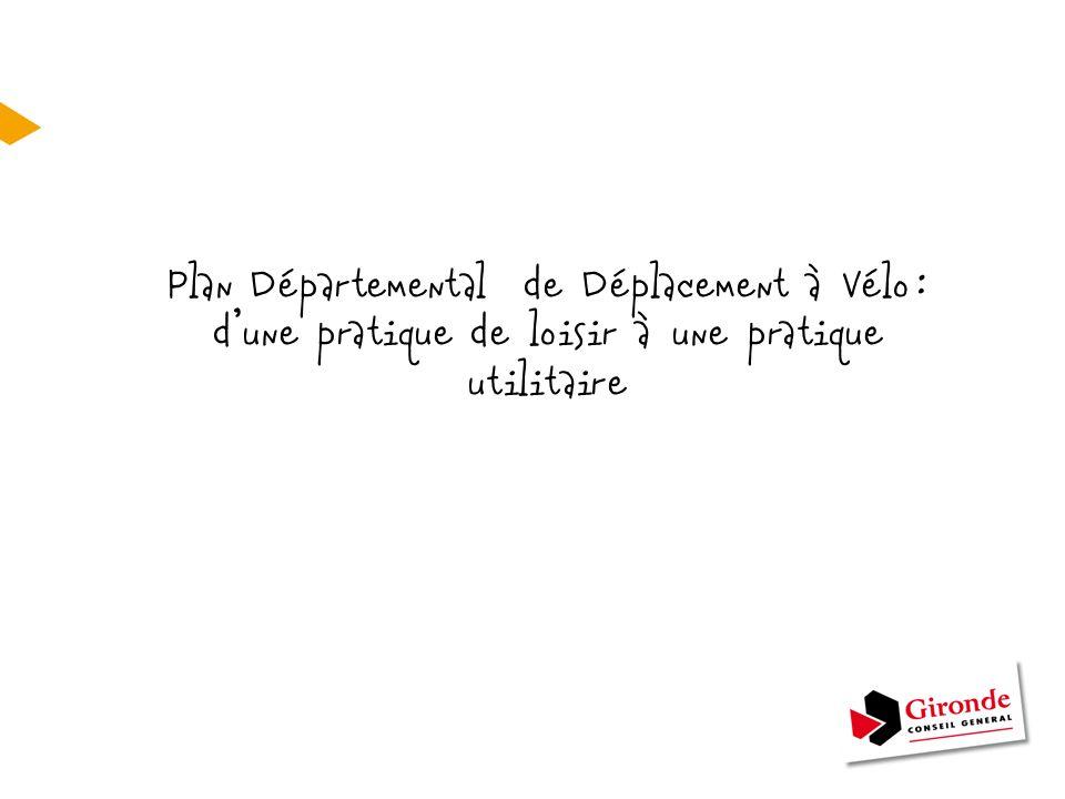 Contexte Mise en œuvre du Plan Départemental de Déplacement à Vélo = Action de l'AGENDA 21 Enjeux - Jouer un rôle moteur et fédérateur dans le domaine du vélo - Dépasser la simple pratique touristique et de loisirs en développant un usage utilitaire et quotidien du vélo - Prise de conscience collective Objectifs - Assurer la cohérence des politiques locales - Développer et renforcer l'image et l'usage du vélo - Sécuriser la pratique du vélo - Développer l'inter modalité