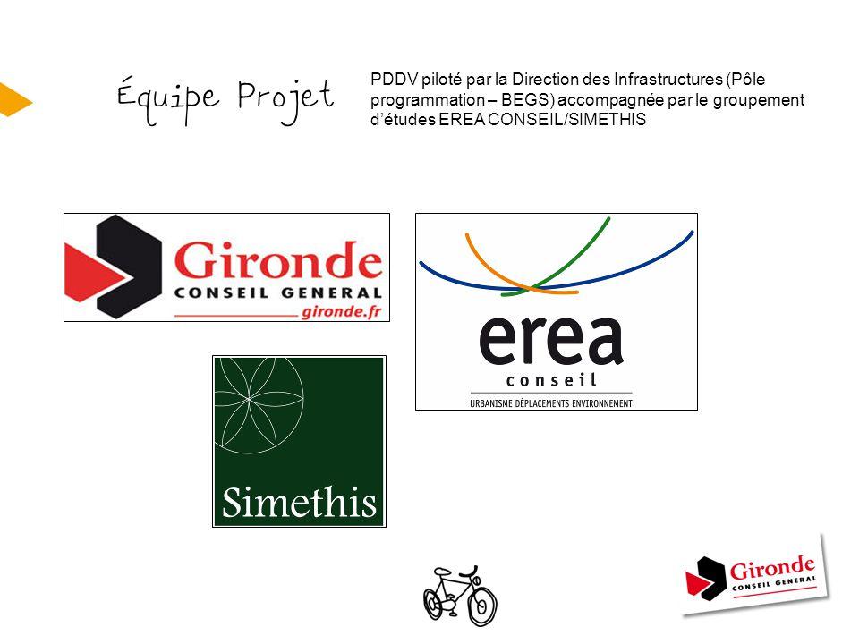 Équipe Projet PDDV piloté par la Direction des Infrastructures (Pôle programmation – BEGS) accompagnée par le groupement d'études EREA CONSEIL/SIMETHI