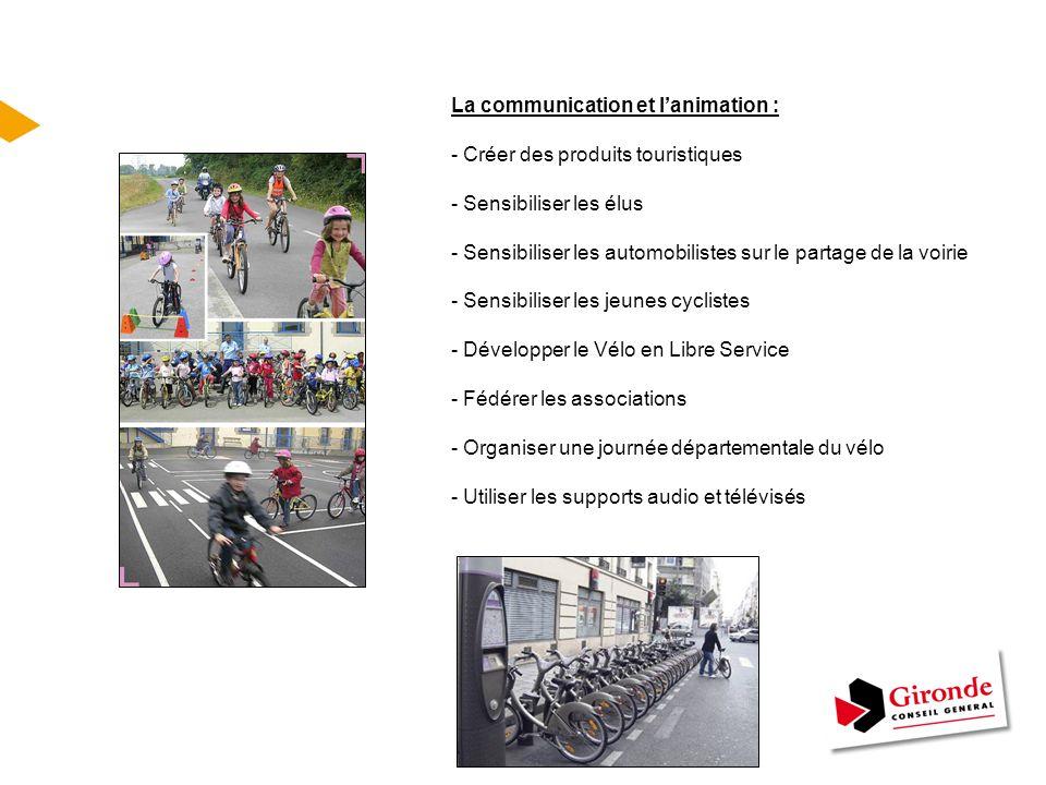 La communication et l'animation : - Créer des produits touristiques - Sensibiliser les élus - Sensibiliser les automobilistes sur le partage de la voi