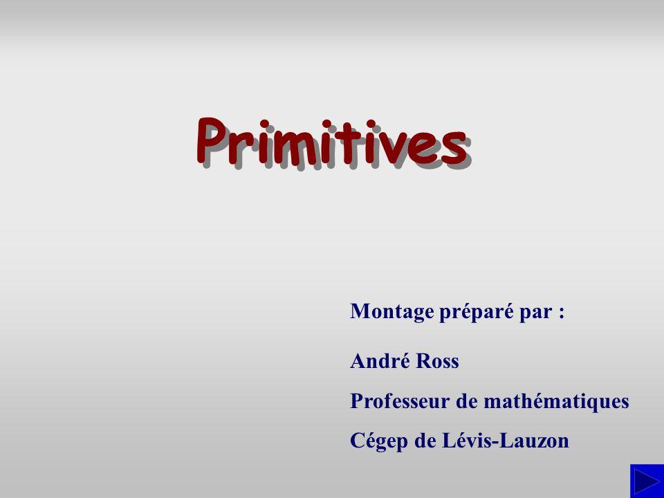 Montage préparé par : André Ross Professeur de mathématiques Cégep de Lévis-Lauzon Primitives