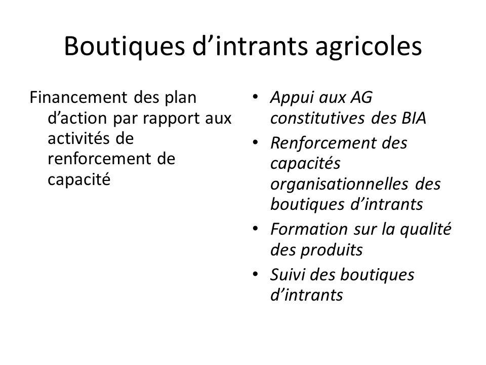 Boutiques d'intrants agricoles Financement des plan d'action par rapport aux activités de renforcement de capacité Appui aux AG constitutives des BIA Renforcement des capacités organisationnelles des boutiques d'intrants Formation sur la qualité des produits Suivi des boutiques d'intrants