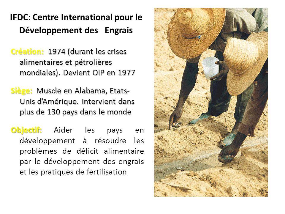 IFDC: Centre International pour le Développement des Engrais Création: 1974 (durant les crises alimentaires et pétrolières mondiales).