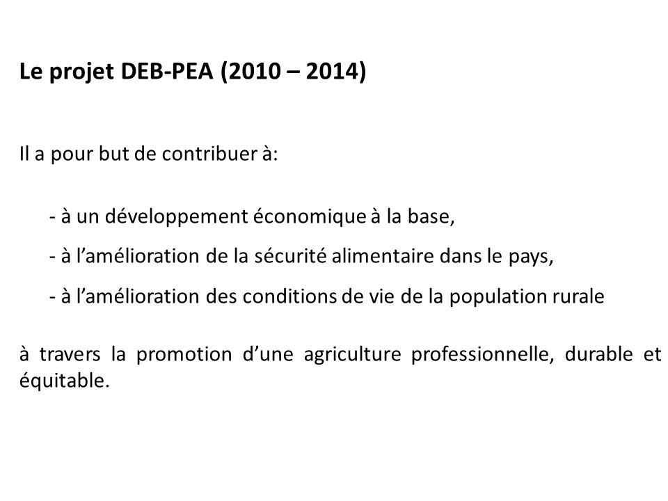 Le projet DEB-PEA (2010 – 2014) Il a pour but de contribuer à: - à un développement économique à la base, - à l'amélioration de la sécurité alimentaire dans le pays, - à l'amélioration des conditions de vie de la population rurale à travers la promotion d'une agriculture professionnelle, durable et équitable.