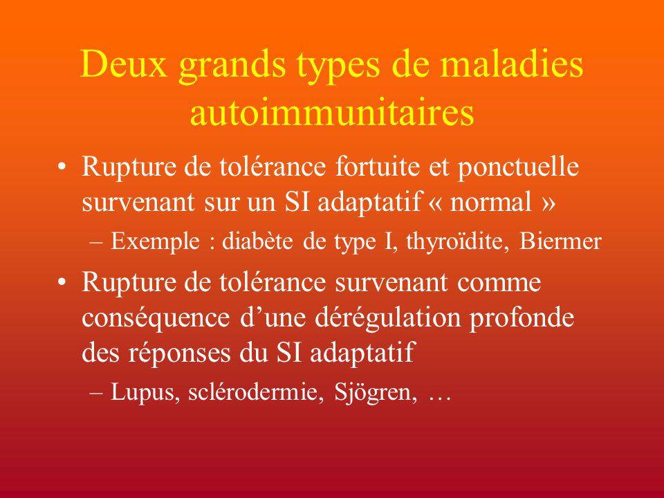 Deux grands types de maladies autoimmunitaires Rupture de tolérance fortuite et ponctuelle survenant sur un SI adaptatif « normal » –Exemple : diabète