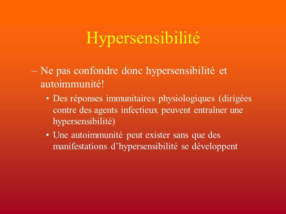 Hypersensibilité –Ne pas confondre donc hypersensibilité et autoimmunité! Des réponses immunitaires physiologiques (dirigées contre des agents infecti