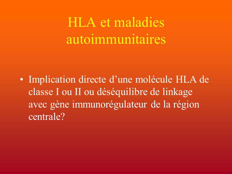 HLA et maladies autoimmunitaires Implication directe d'une molécule HLA de classe I ou II ou déséquilibre de linkage avec gène immunorégulateur de la