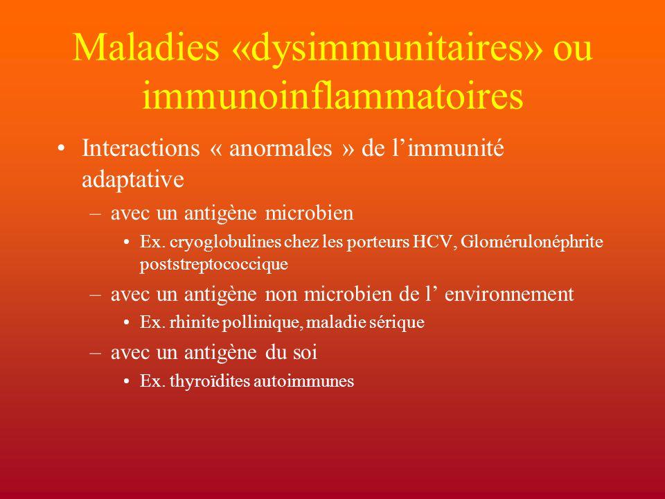 Maladies «dysimmunitaires» ou immunoinflammatoires Interactions « anormales » de l'immunité adaptative –avec un antigène microbien Ex. cryoglobulines