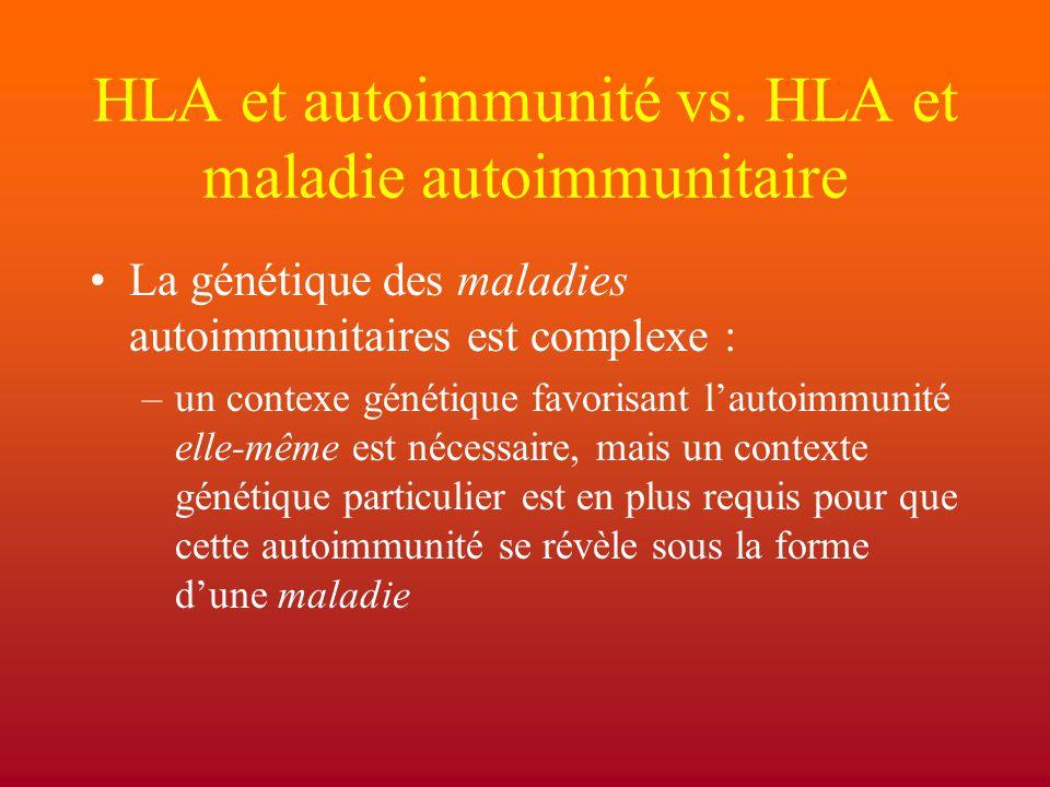 HLA et autoimmunité vs. HLA et maladie autoimmunitaire La génétique des maladies autoimmunitaires est complexe : –un contexe génétique favorisant l'au