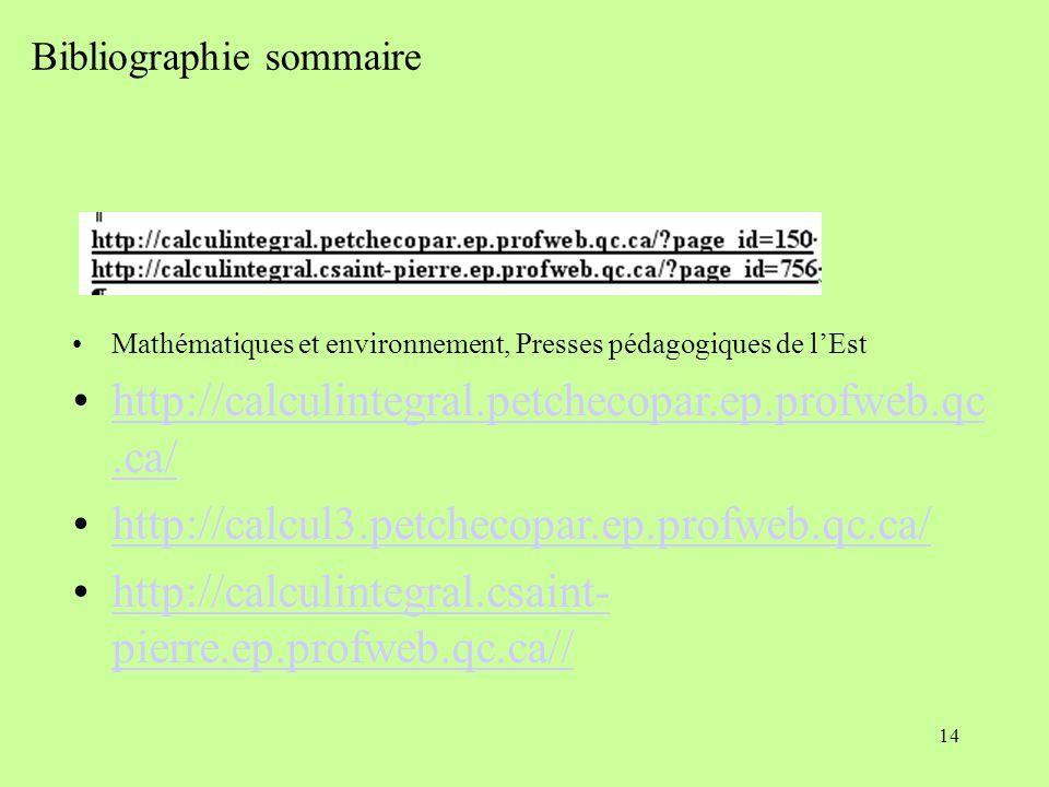 14 Bibliographie sommaire Mathématiques et environnement, Presses pédagogiques de l'Est http://calculintegral.petchecopar.ep.profweb.qc.ca/http://calculintegral.petchecopar.ep.profweb.qc.ca/ http://calcul3.petchecopar.ep.profweb.qc.ca/ http://calculintegral.csaint- pierre.ep.profweb.qc.ca//http://calculintegral.csaint- pierre.ep.profweb.qc.ca//
