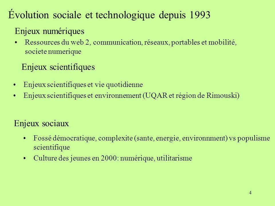 4 Évolution sociale et technologique depuis 1993 Enjeux numériques Ressources du web 2, communication, réseaux, portables et mobilité, societe numerique Enjeux scientifiques Enjeux scientifiques et vie quotidienne Enjeux scientifiques et environnement (UQAR et région de Rimouski) Enjeux sociaux  Fossé démocratique, complexite (sante, energie, environnment) vs populisme scientifique Culture des jeunes en 2000: numérique, utilitarisme