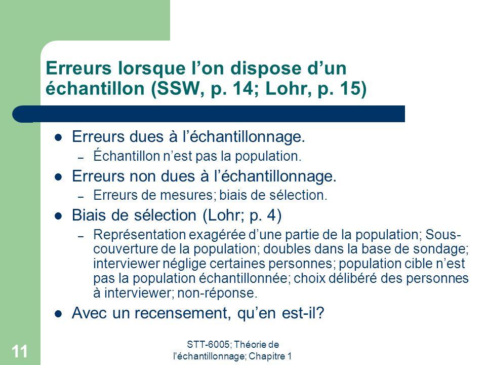 STT-6005; Théorie de l'échantillonnage; Chapitre 1 11 Erreurs lorsque l'on dispose d'un échantillon (SSW, p. 14; Lohr, p. 15) Erreurs dues à l'échanti