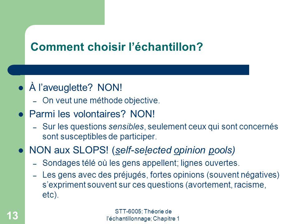 STT-6005; Théorie de l échantillonnage; Chapitre 1 13 Comment choisir l'échantillon.