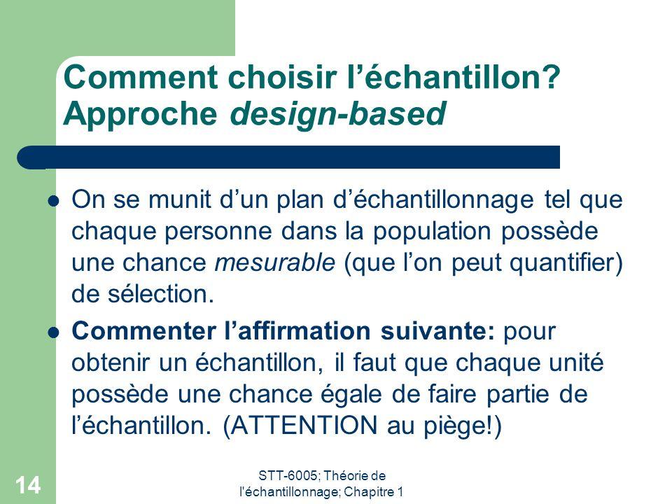 STT-6005; Théorie de l'échantillonnage; Chapitre 1 14 Comment choisir l'échantillon? Approche design-based On se munit d'un plan d'échantillonnage tel