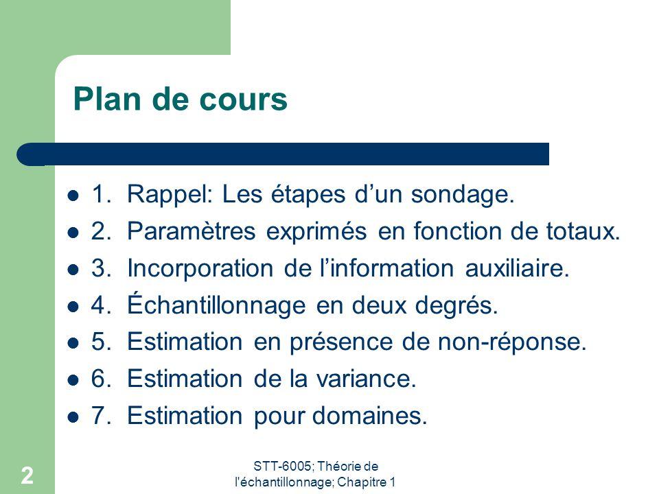 STT-6005; Théorie de l'échantillonnage; Chapitre 1 2 Plan de cours 1. Rappel: Les étapes d'un sondage. 2. Paramètres exprimés en fonction de totaux. 3