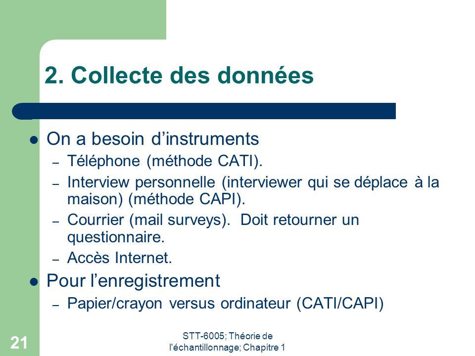 STT-6005; Théorie de l'échantillonnage; Chapitre 1 21 2. Collecte des données On a besoin d'instruments – Téléphone (méthode CATI). – Interview person