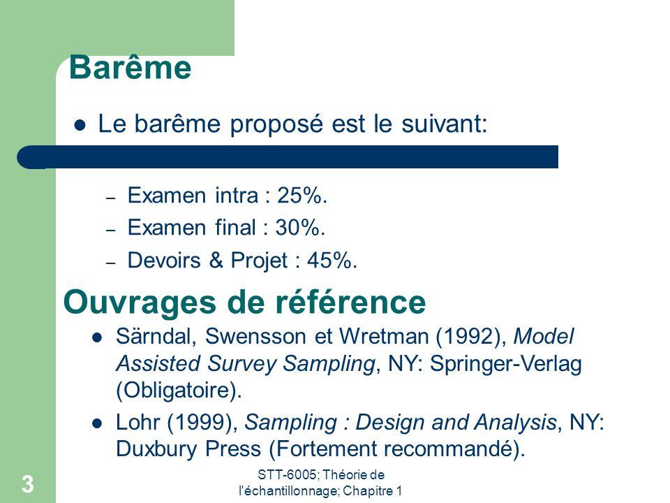 STT-6005; Théorie de l'échantillonnage; Chapitre 1 3 Barême Le barême proposé est le suivant: – Examen intra : 25%. – Examen final : 30%. – Devoirs &